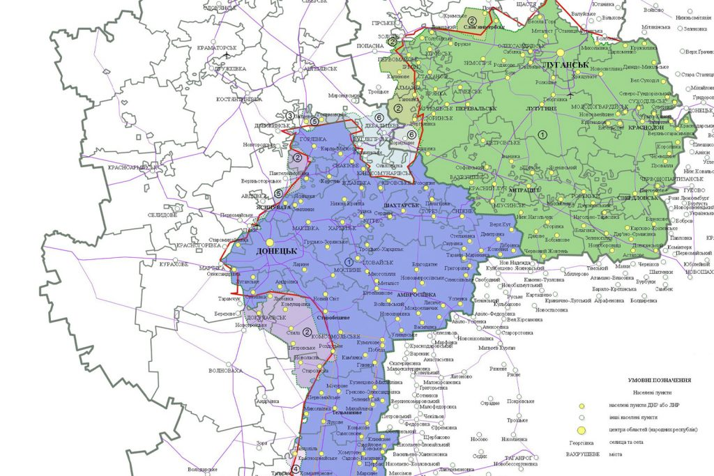 Карта ЛНР и ДНР